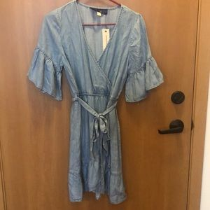 Francesca's chambray ruffle wrap dress